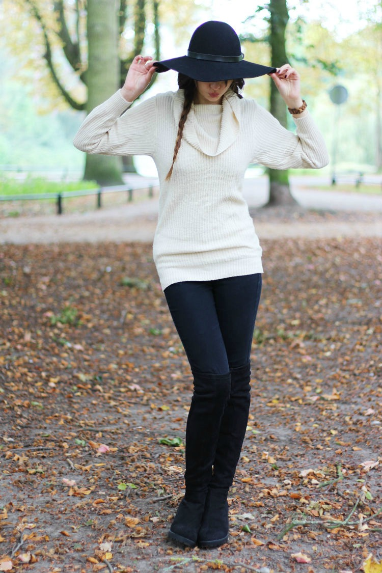 Cozy sweater & over the knee boots