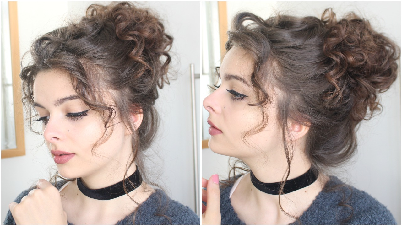 Messy curly high bun