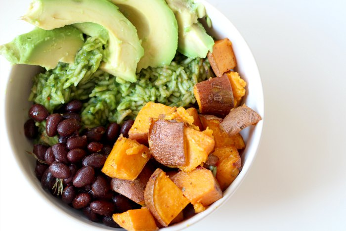Mexican bowl with green rice, spicy sweet potato cubes & smoked black beans