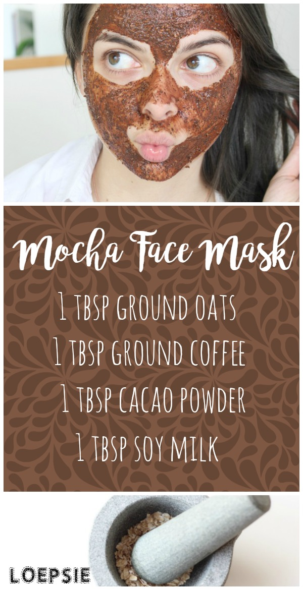 Mocha Face Mask: combine 1 tbsp each of ground oats, ground coffee, cacao powder and soy milk. Apply to face, leave for 10 minutes until dry. Rinse & enjoy hydrated, exfoliated skin!