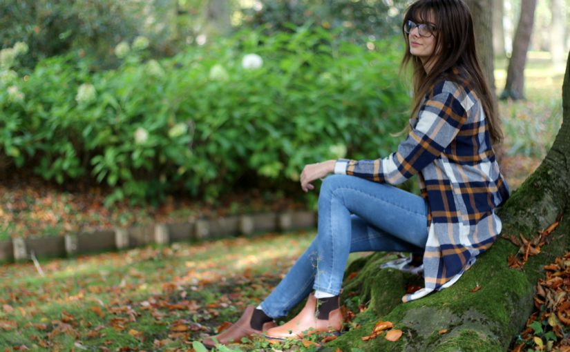 Denim & Pumpkin Coloured Flanel | OOTD